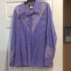 Bob Mackie 100% cotton blouse with embroidery XL